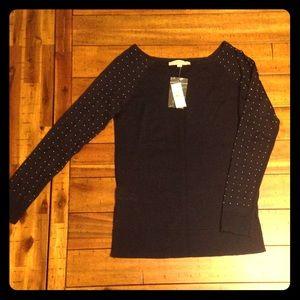 LOFT Navy Lightweight sweater w/ metal studded arm